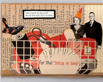 Original cut and paste Collage Art on book cover vintage....Life is hard