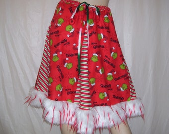 Grinch Party Skirt Adult Furry Hem Candy Cane Stripe Skirt Dr Seuss Ugly Sweater Party Christmas Holiday Fur Grinchmas Skirt Adult S M L