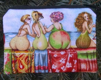 Women coin purse, gift card pouch, credit card pouch, Fruit Ladies, The Raven