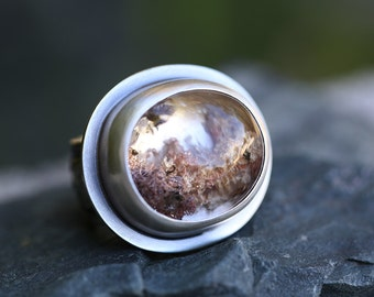 Hidden World – lodolite and sterling silver ring