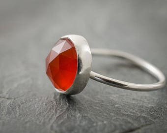 Carnelian Ring. Stacking Ring. Checker Cut Cabochon. Sterling Silver Ring. Custom Size Ring. Stackable Jewelry.