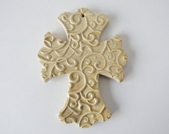 Embossed Cross Ornament - ceramic clay - handmade - ready to mail - oatmeal glaze with scroll design