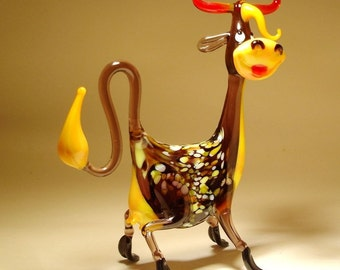 Handmade  Blown Glass Art Figurine Farm Animal Comic Happy COW Statue
