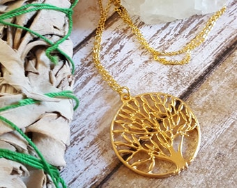 Tree of Life Necklace, Tree of Life Pendant, Gold Tree of Life Necklace, yoga jewelry, yoga necklace, meditation jewelry, long necklace