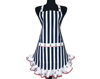 Nautical Theme Apron for women , Navy Blue and White stripe with Anchors , Sailor / Boat Kitchen Decor