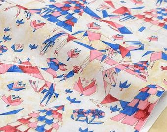 Japanese Fabric Kokka Ihme Chamber - umasan - pink, blue - fat quarter