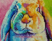 "Original Bright Little Bun Oil Painting 8""x8"""