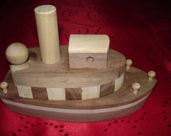 PAPAHONEYs Toys Handmade Handcrafted Childs Toy TUGBOAT Walnut Oak  Poplar Maple Toy