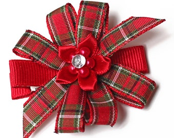 Christmas Red Plaid Hair Bow. Small Baby Hair Clippie With No Slip Grip. Toddler Girl Hair Clip Set of 2. Boutique Pinwheel Xmas Hair Bows