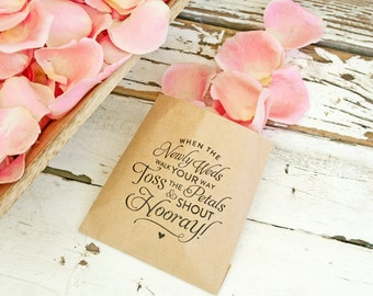 Wedding Petal Toss Bag - Kraft Paper Favor Bags - Toss and Shout Hooray! -  Flower Petal Toss - 20 Kraft Bags