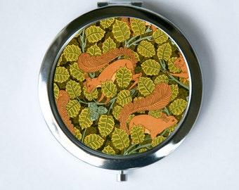 Art Nouveau Squirrels Compact Mirror Pocket Mirror design Pattern
