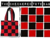 Red Checkered Tote Bag Red Bag Fashion Trendy Hipster Mod Tote Bag Farmer's Market Bag Red Shoulder Bag Gifts for Her Red Black Bag Eco Gift
