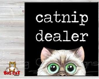 CATNIP DEALER TILE, Cat Trivet. Cat wants to score some nip,  Ceramic Cat Tile. Cat Spoon Rest, Funny Cat Gift, Cat Lover Gift.