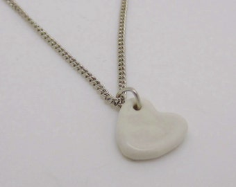 Heart Necklace Glazed Ceramic Porcelain on an 18 inch Silver Chain