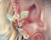 ON SALE Golden Crystal Ear Cuff Climber No Piercing, Lothlorien Fantasy Boho Elven Woodland Ear Cuff