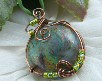 Polymer Clay Pendant ~ Wire Wrapped Pendant ~ Green Galaxy Pendant ~ Polymer Lentil Bead Pendant ~ Handcrafted Bead ~ Wire and Clay Pendant