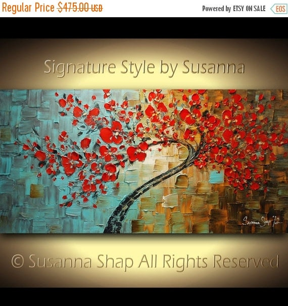 Red Tree Painting ORIGINAL Large Abstract Red Cherry Blossom Landscape Oil Painting Thick Texture Fine Art by Susanna Ready to Hang 48x24