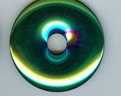 45mm Hematite Blue Yellow Green and Purple Hematine PI Donut Pendant Bead