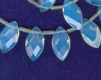 Opalite Leaf Beads Clear Milky White Opalite Glass Leaf Spacer Beads 25 Bead Spacers