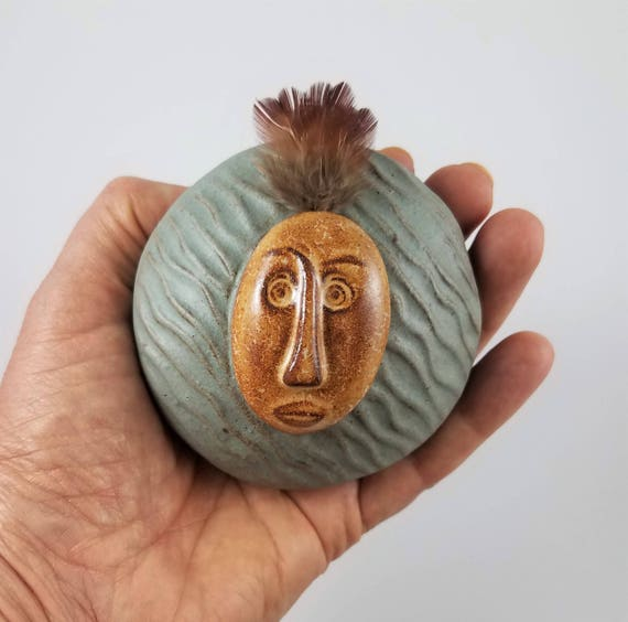 Shaman Rattle - Meditation Altar - Relaxation - Clay Rattle - Ceramic - Pottery - Musical - Stocking Stuffer - Gift for Teen - Muscial