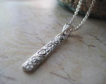 Pattern Bar Necklace, Sterling Silver, Pattern Bar, Rolo Chain, Oxidized Pendant, Fancy Bail, Floral Design, Pattern Wire, Minimalist