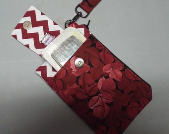 Womens Wristlet Wallet or Small Bag Crimson Leaves Fabric