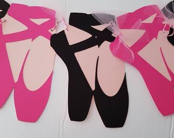 Ballet Shoes Garland.  Ballet Banner, Ballet Garland, Ballet Bunting. Ballet Party. Recital or Room, Nursery Decor. READY TO SHIP
