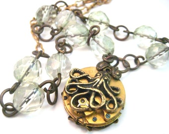 Octopus Steam ... Steampunk Octopus Watch Movement  One of a Kind Necklace