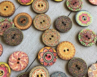 "Boho Wooden Buttons (B120) 20 Fancy Painted 3/4"" Diameter Wood Buttons Assorted Styles and Colors Sewing Crafts Scrapbook Supplies"