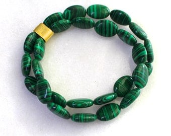 Little Luxe 2 Strand Simple Stacking Stretch Bracelet in Malachite...