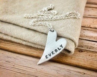 Custom Sterling Silver Hand Stamped Elongated Heart Necklace