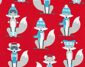 Andie Hanna for Robert Kaufman FABRIC - Polar Pals - Sly Fox - Red