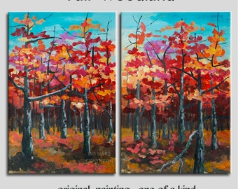 """Art Painting Abstract Painting Original impasto modern tree art 48"""" MULTI colors landscape painting on gallery canvas by tim lam"""