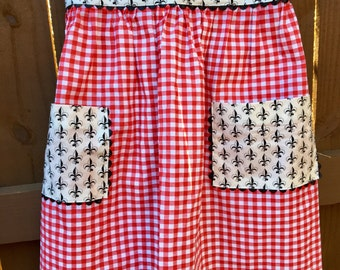 Vintage Half Apron - Red Check Gingham  - Ric Rac Pockets - Black Fleur de lis - XL