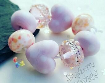 Lampwork Glass Beads Strawberry Milkshake