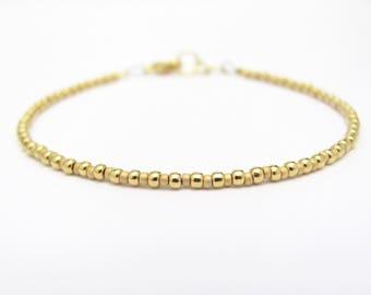 Gold Friendship Bracelet, Beaded Bracelet, 24K Gold Plated Bracelet, Friendship Bracelet, Minimal Bracelet, Accent Bracelet, Miss Cece