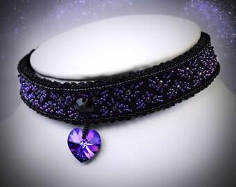 Heart Choker - Black Lace choker - emo jewelry - choker collar - pastel goth choker - soft grunge necklace - grunge choker - thick choker