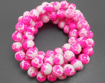 50 Hot Pink and White Glass Beads 8mm round (H2242)