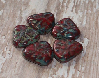 Set of 4 Red With Picasso Czech Glass Triangle Beads 17x16MM (H6025)