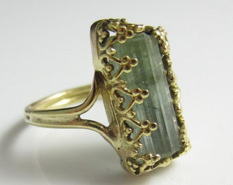 The Lakeside Ring - Organic Tourmaline Crystal in 14k Solid Gold