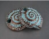 OVERSTOCK SALE Nautilus Shell Charms Pair Spirals Fibonacci Mykonos Greek Copper Antiqued Green Turquoise Naos