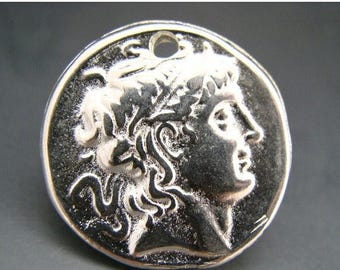 TAX SALE Mykonos Greek Alexander The Great Pendant Bright Silver Lead Free Pewter Silver Color 28mm Naos