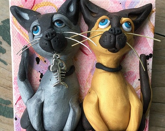 Siamese Cat Art - Valentine Polymer Clay Siamese Cats - Gift for Cat Lover - Clay Cats on Canvas  - Cat Gift - Polymer Clay Cats on Canvas