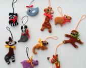 Set of ten handmade needle felted wool Christmas decorations ornaments animals