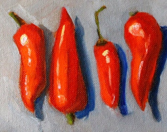 Red Pepper, Still Life, Original, Oil Painting, Small 4x6 Canvas, Southwestern Vegetable, Kitchen Wall Decor, Blue Gray, Miniature Art