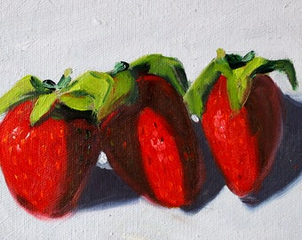 Strawberries, Still Life, Oil Painting, Original 5x7, Small Canvas, Kitchen Fruit, Wall Decor, Red Berries, Food Art, Little Miniature, Tiny
