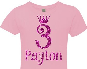 Tiara Bling Birthday Shirt for Girls with Personalized Name and Number