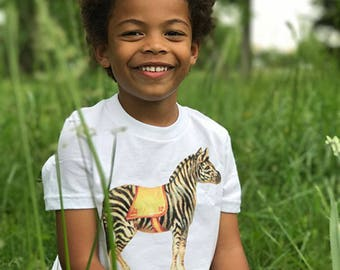 Kid's Gift, Circus Animal, Boys Shirt, Zebra Shirt, Circus Shirt, Vintage Zebra, Unisex Top, Gift for Him, 2, 4, 6, 8, 10, 12