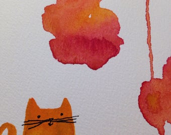 Good cat thoughts an original watercolor painting