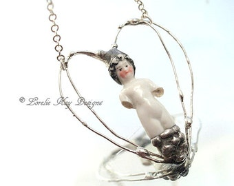 Soldered Frozen Charlotte Necklace Free Form Heart Organic Silver Heart Pendant